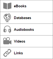 The filter buttons in the sidebar include eBooks, Databases, Audiobooks, Videos, and Links