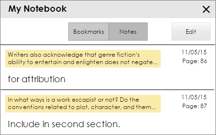 The My Notebook screen with two highlighted passages of text and two corresponding notes