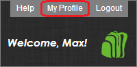 The My Profile button inside of MackinVIA website is located above the backpack icon, between the Help and Logout buttons