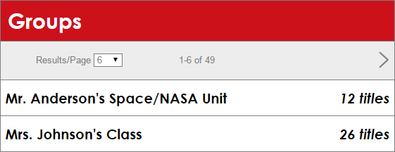 The Groups screen featuring two example Groups, Mr. Anderson's Space/NASA Unit (12 titles) and Mrs. Johnson's Class (26 titles)