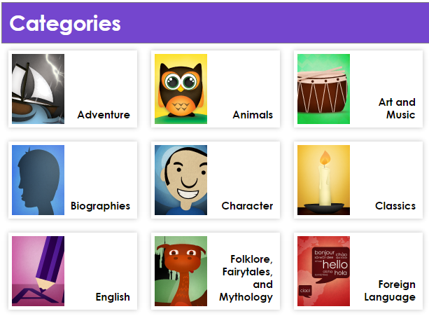 A list of Categories with corresponding images, such as a ship next to the Adventure category and owl next to the Animals category