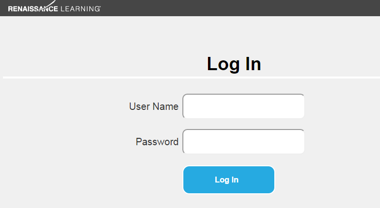 The Renaissance Learning login screen with fields for User Name and Password and a Log In button