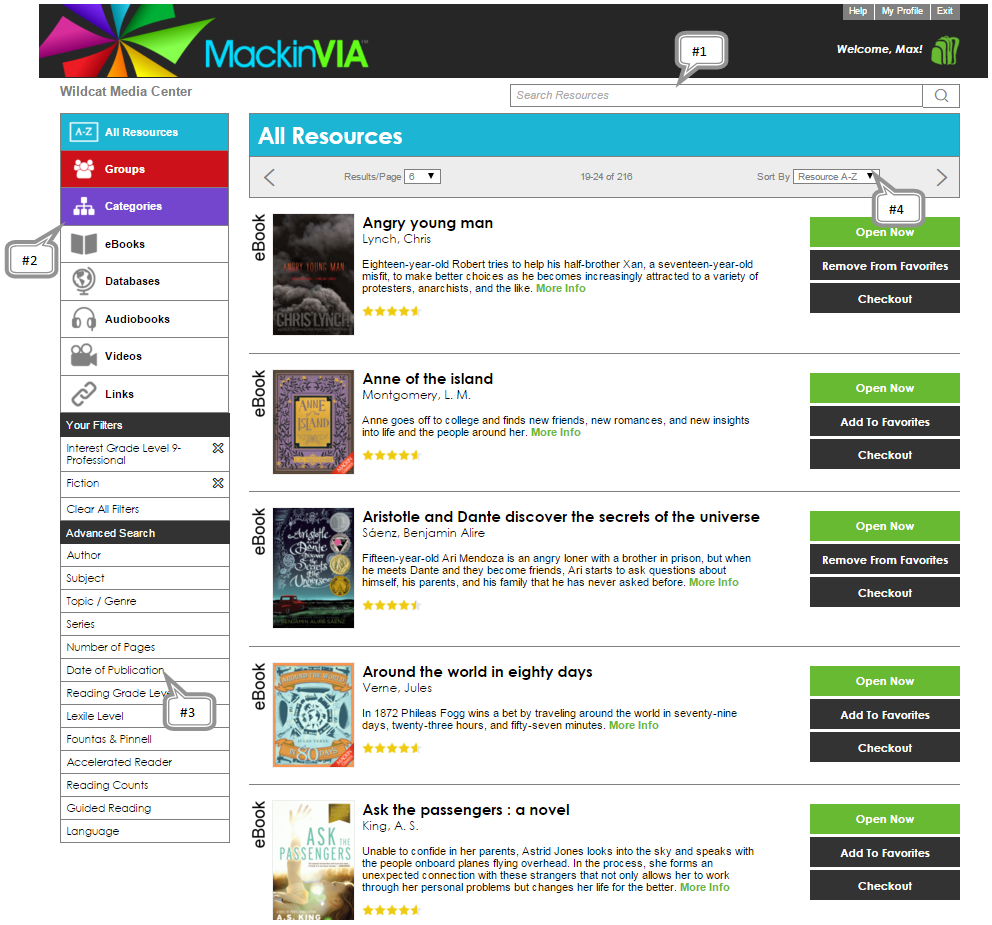 MackinVIA main page highlighting the search bar, Categories, filters, and browse options