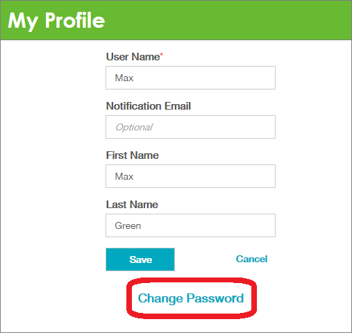 The Change Password button is circled here on the My Profile screen