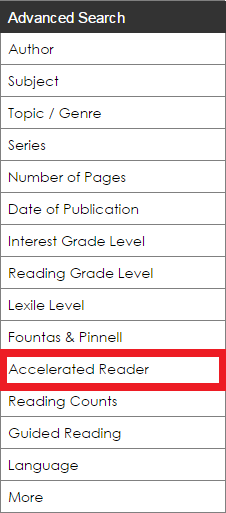 The Accelerated Reader filter is circled in the Advanced Search sidebar