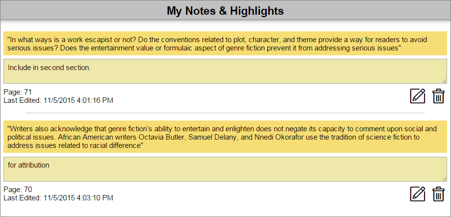 The My Notes & Highlights screen with two highlighted passages of text and two corresponding notes