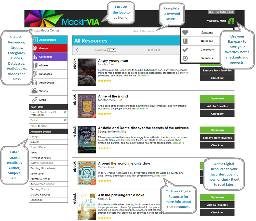 MackinVIA home page. Filter the resources from the sidebar menu, complete keyword search, use your backpack, add a favorite resource or check it out to view later.